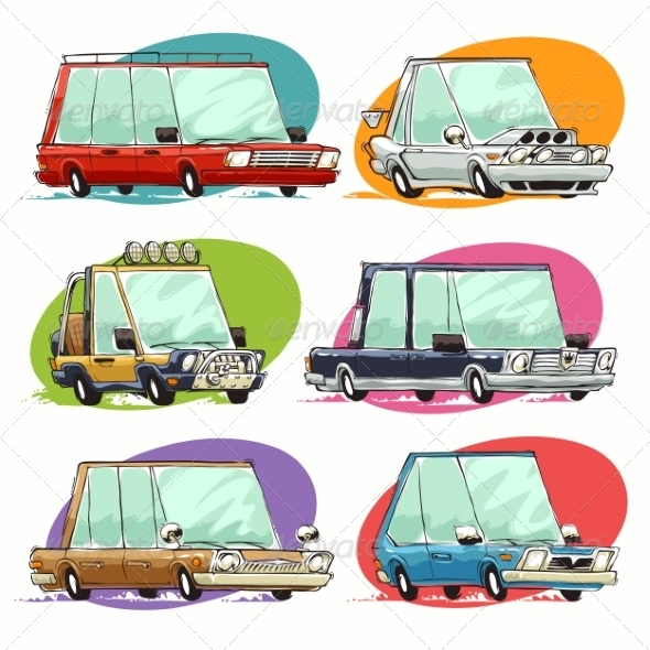 GraphicRiver Cartoon Cars Set 8613177