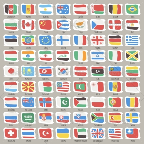 GraphicRiver Set of World States Flags 8613183