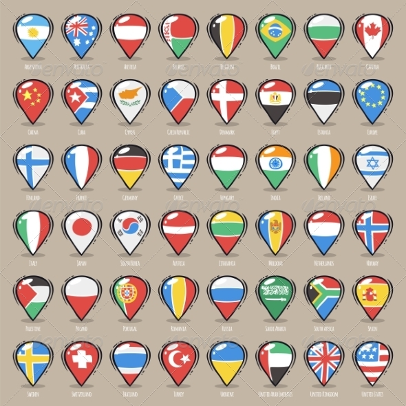 GraphicRiver Set of Cartoon Map Pointers With World States Flag 8613226