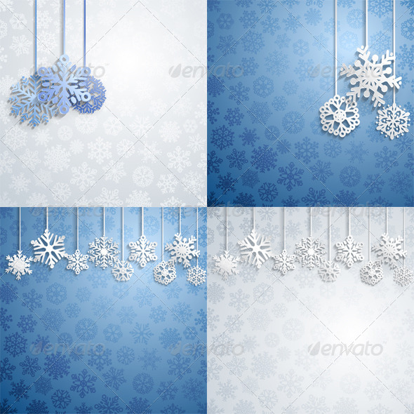 GraphicRiver Christmas Backgrounds with Hanging Snowflakes 8613626