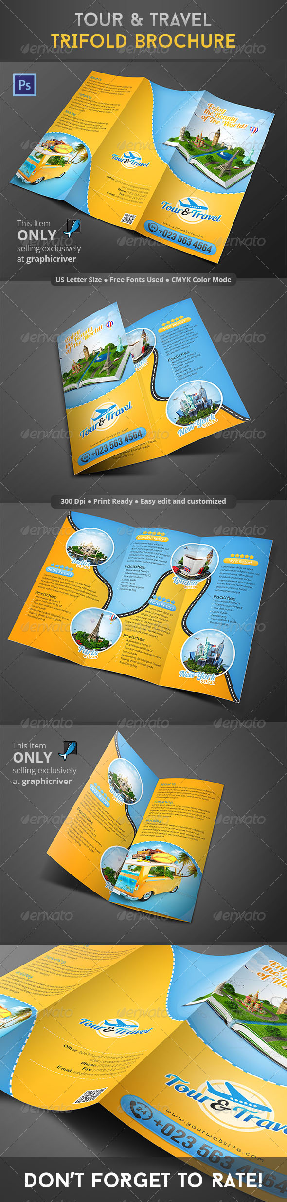 GraphicRiver Tour & Travel Trifold Brochure 8610213