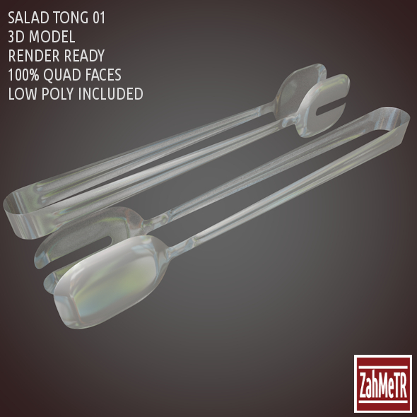 3DOcean Salad Tong 3D Model Low High Poly 8614184