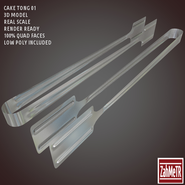 3DOcean Cake Tong 3D Model Low High Poly 8614450