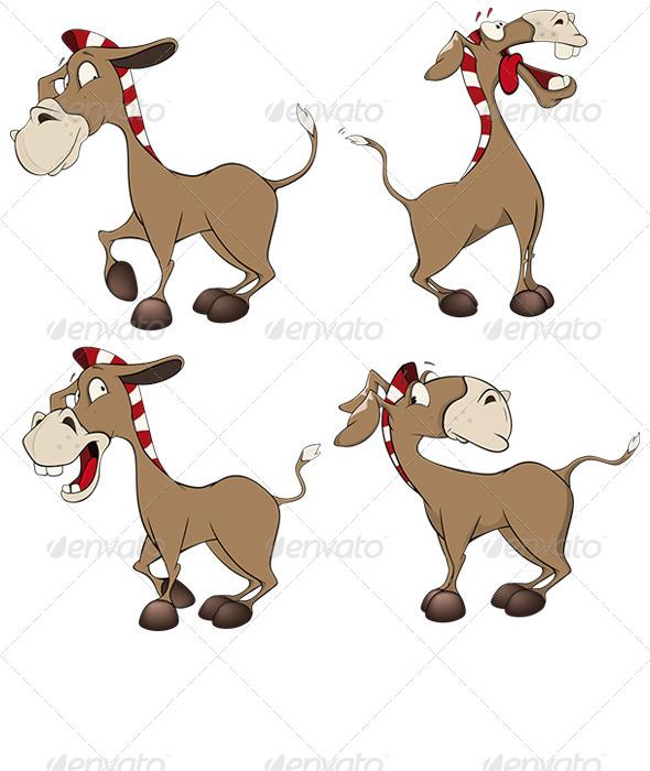 GraphicRiver Set of Donkeys Cartoon 8614466