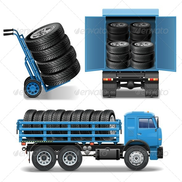 GraphicRiver Vector Tire Delivery Icons 8614789