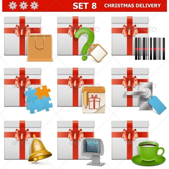 GraphicRiver Vector Christmas Delivery Set 8 8614796