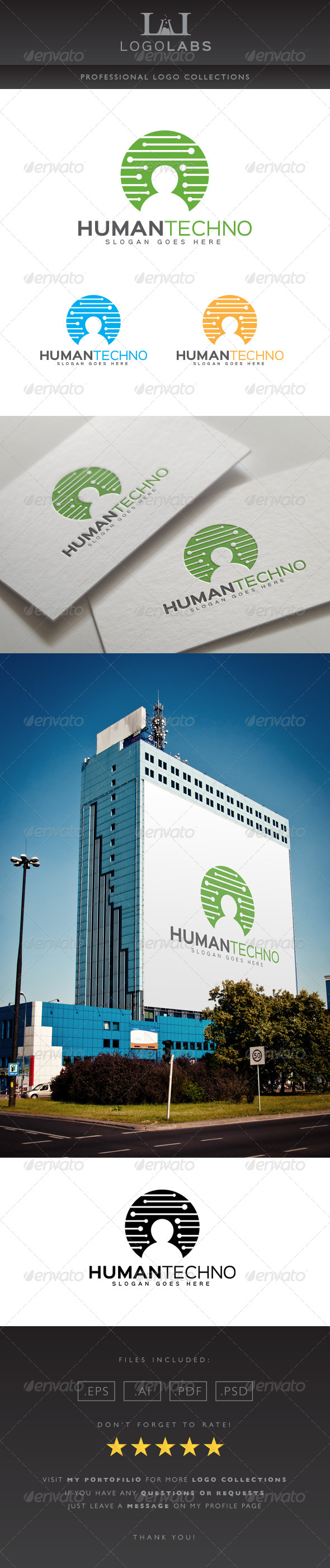 GraphicRiver Human Techno Logo 8614798