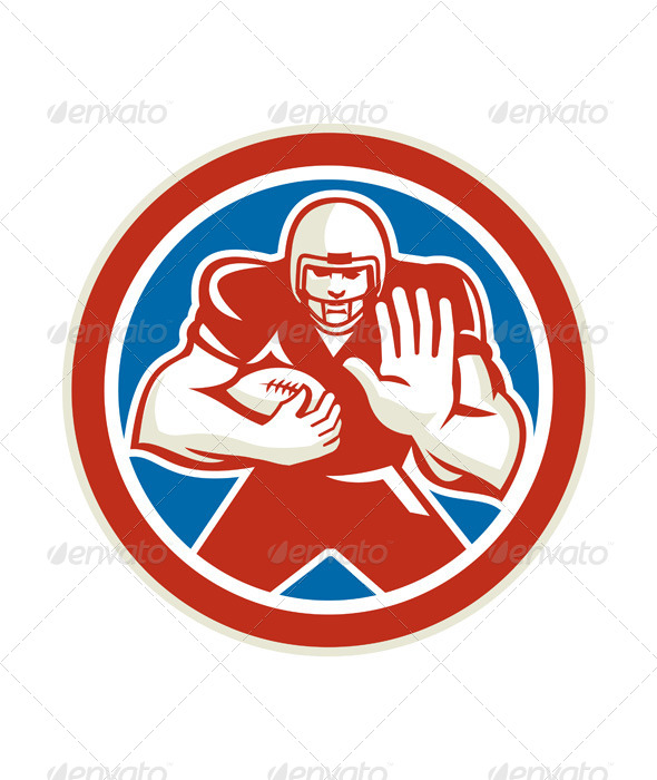 GraphicRiver American Football Fend Off Circle Retro 8614836