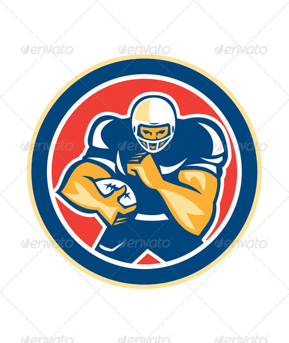 GraphicRiver American Football Fend Off Circle Retro 8614960