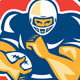 American Football, Fend Off, Circle Retro - GraphicRiver Item for Sale