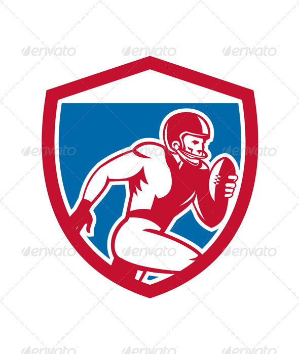 GraphicRiver American Football Player Running Shield 8614978