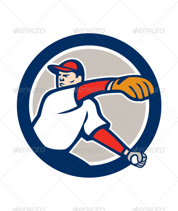 GraphicRiver Baseball Pitcher Throw Ball Circle 8615028