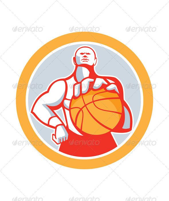 GraphicRiver Basketball Player With Ball Circle Retro 8615032