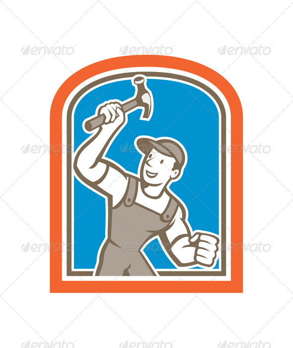GraphicRiver Builder Carpenter Holding Hammer Shield 8615036