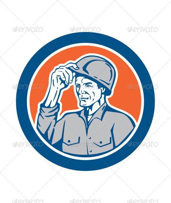 GraphicRiver Builder Tipping Hardhat Circle Retro 8615038