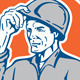 Builder Tipping Hardhat Circle Retro - GraphicRiver Item for Sale