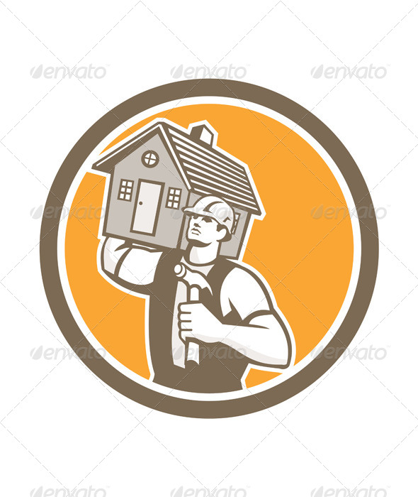 GraphicRiver Builder Carrying House & Hammer Retro 8615044