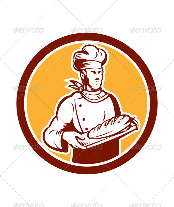 GraphicRiver Baker Holding Bread Woodcut Retro 8615065