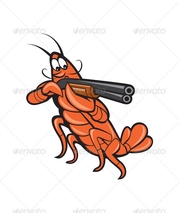 GraphicRiver Crayfish Lobster with Shotgun Cartoon 8615080