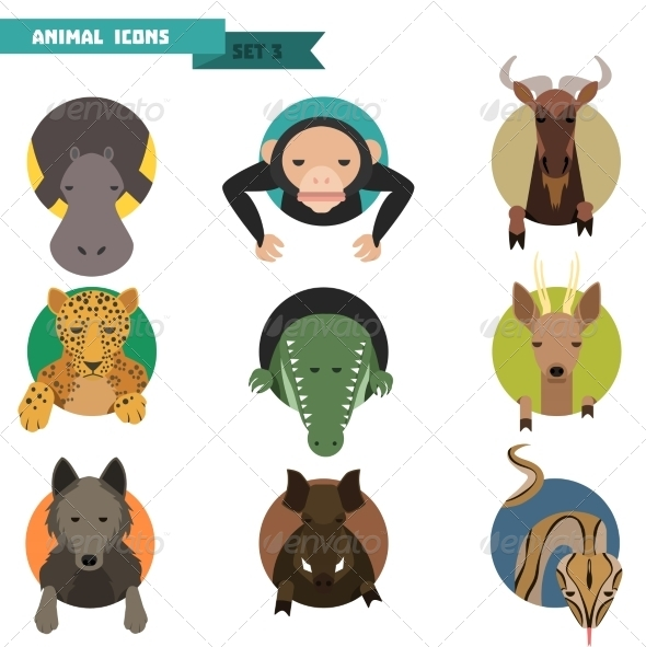 GraphicRiver Animal Avatars Vector Illustration 8615087
