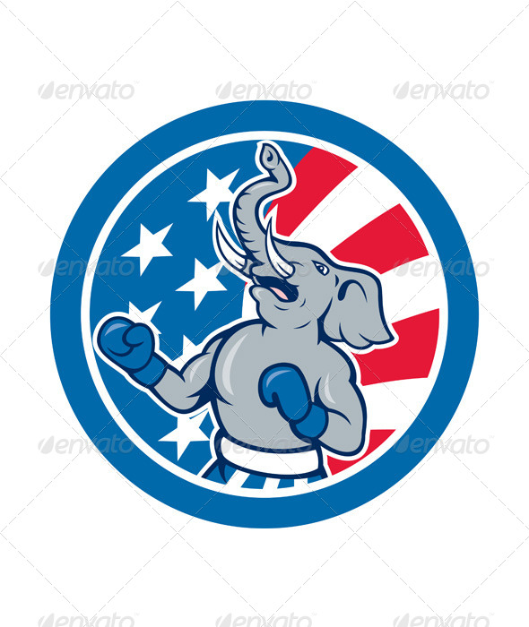 GraphicRiver Republican Elephant Boxer Mascot Circle 8615089