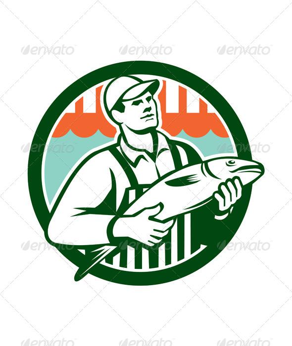 GraphicRiver Fishmonger Holding Fish Circle Retro 8615124