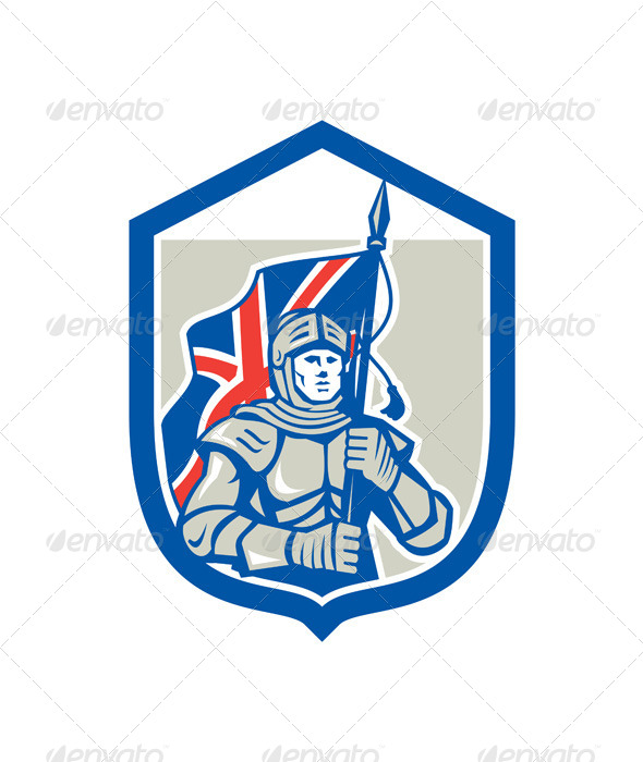 GraphicRiver Knight Holding British Flag Shield Retro 8615157