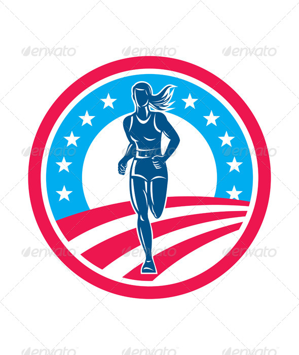 GraphicRiver American Female Runner Circle 8615160