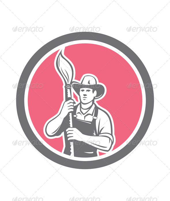 GraphicRiver House Painter Holding Paintbrush Circle Retro 8615187