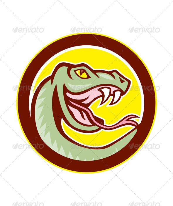 GraphicRiver Rattle Snake Head Circle Cartoon 8615196