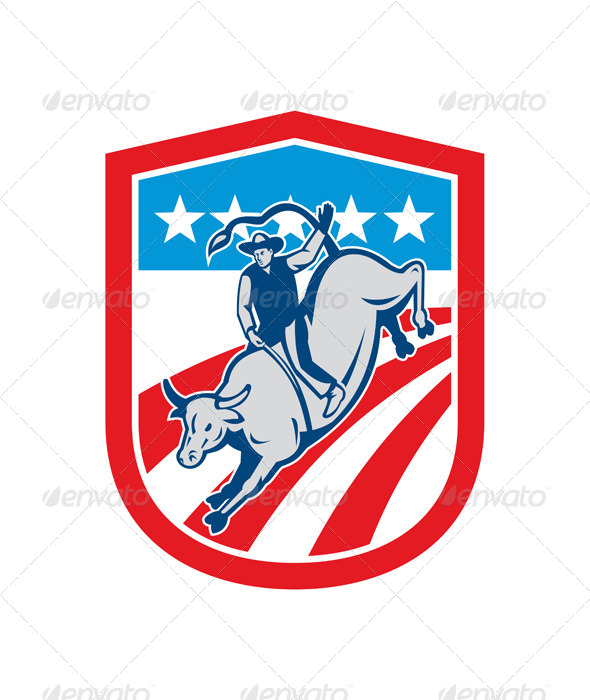 GraphicRiver American Rodeo Cowboy Bull Riding 8615253