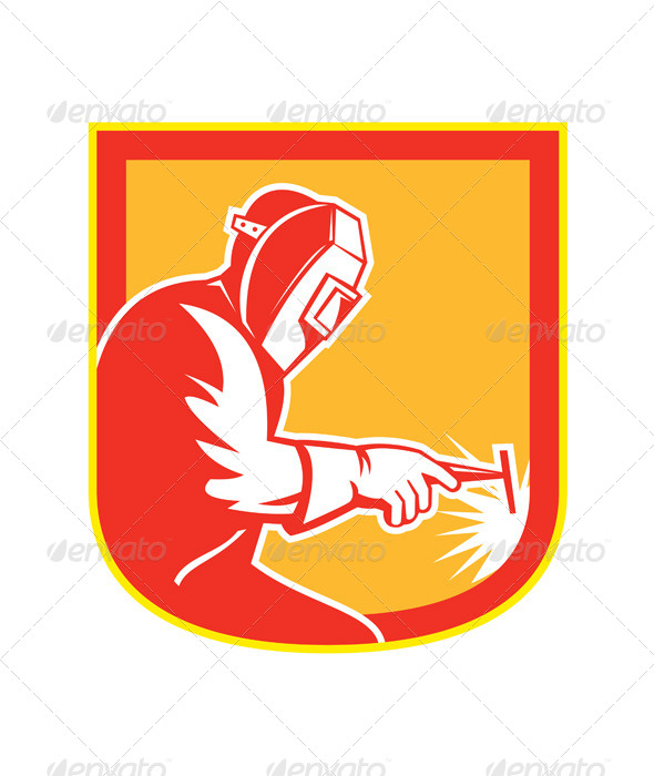 GraphicRiver Welder Holding Welding Torch Shield Retro 8615269