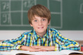 Smiling young schoolboy in the classroom - PhotoDune Item for Sale