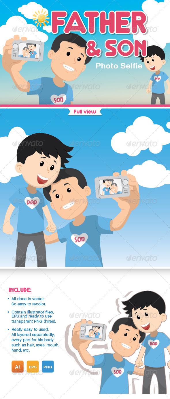GraphicRiver Father and Son Photo Selfie 8615510