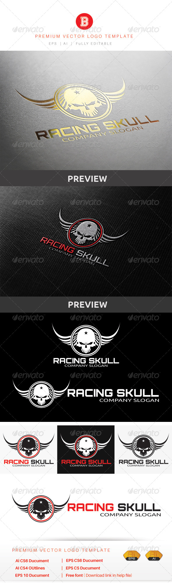 GraphicRiver Racing Skull 8615541
