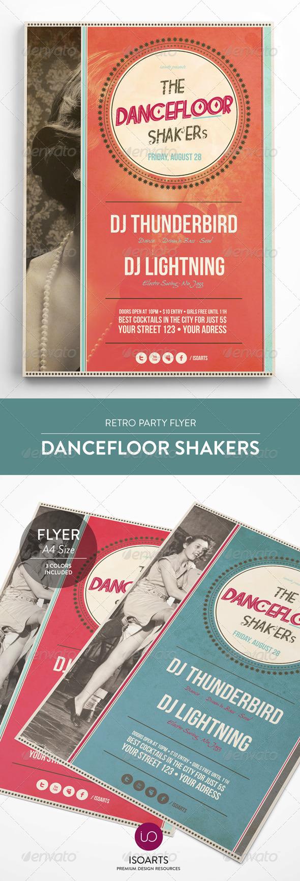 Dancefloor Shakers • Retro Party Flyer - Events Flyers