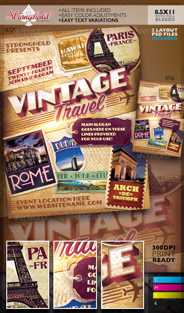 GraphicRiver Vintage Travel Decals Poster Template 8615566