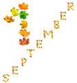 Text S E P T E M B E R 1 composed of autumn maple leafs - PhotoDune Item for Sale