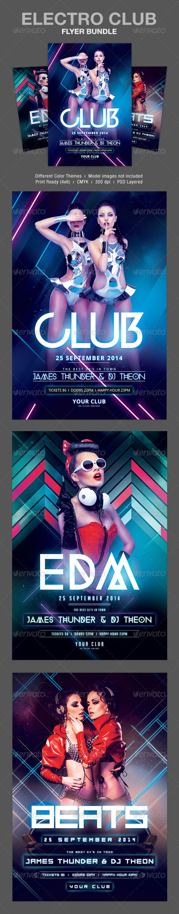 GraphicRiver Electro Club Flyer Bundle 8616676