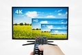 4K television display with comparison of resolutions. Remote control in hand - PhotoDune Item for Sale