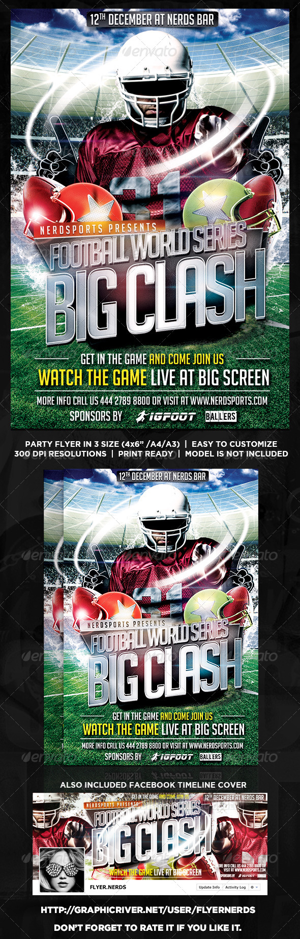 GraphicRiver Football Word Series Big Clash Flyer 8617125