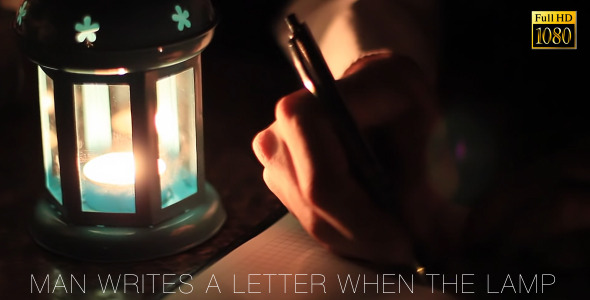 Man Writes A Letter When The Lamp 2