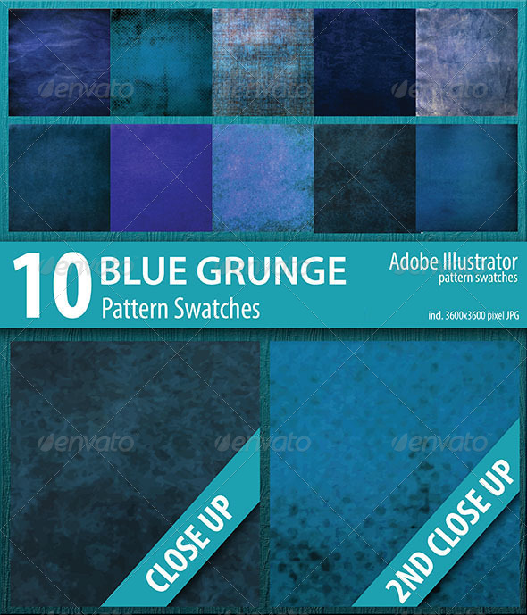 GraphicRiver 10 Blue Grunge Pattern Swatches Vector 8617380