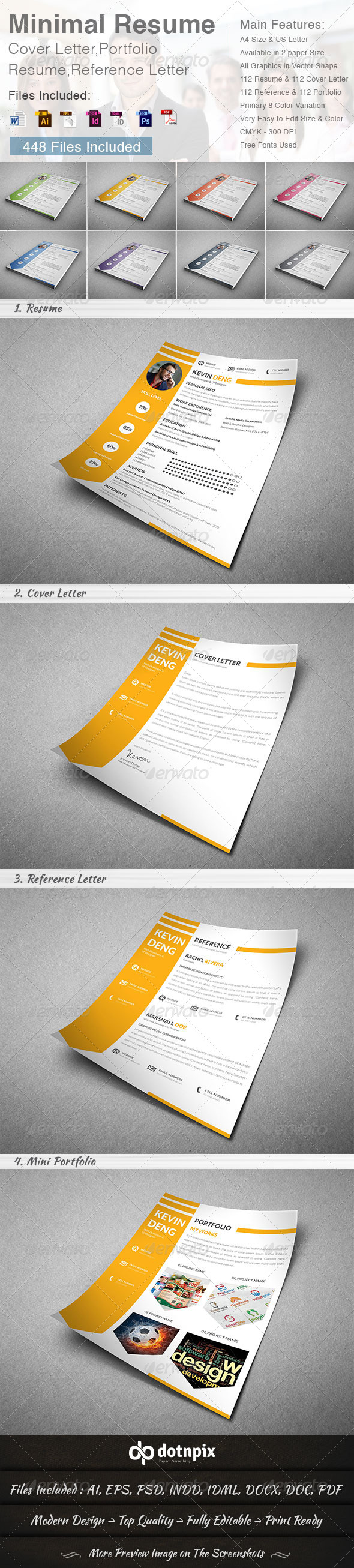GraphicRiver Minimal Resume Cover Letter 4 in 1 8617520