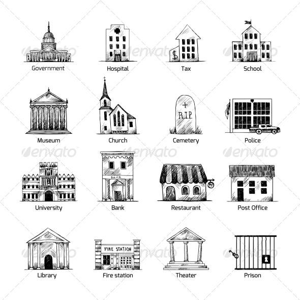 GraphicRiver Government Building Icons Set 8617594
