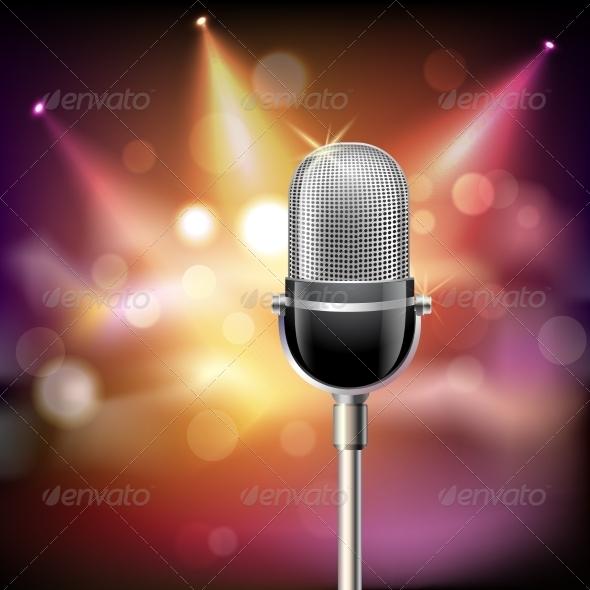 GraphicRiver Retro Microphone Background 8617601