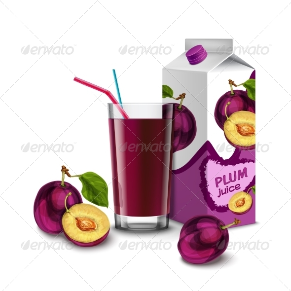 GraphicRiver Plum Juice Set 8617616