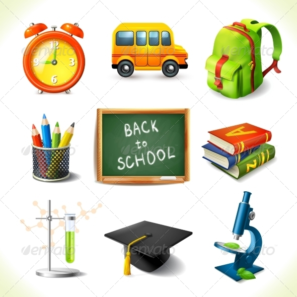 GraphicRiver Realistic School Education Icons Set 8617621