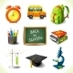 Realistic School Education Icons Set - GraphicRiver Item for Sale