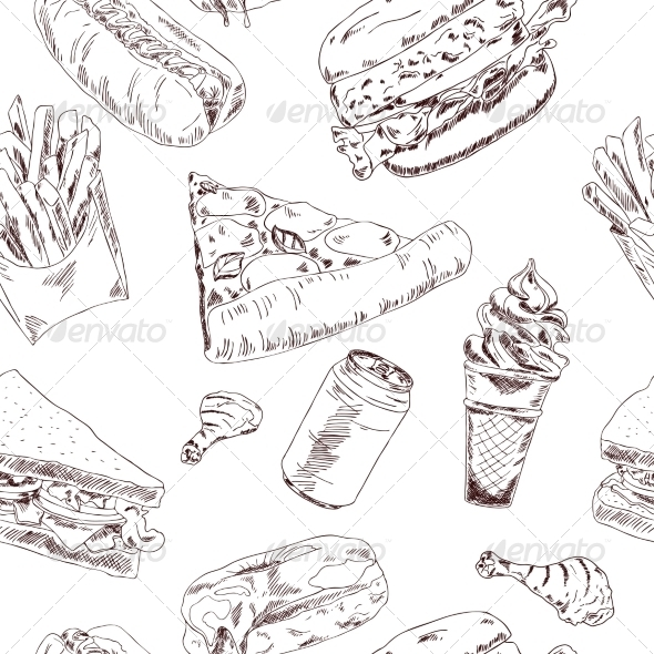 GraphicRiver Fast Food Sketch Seamless 8617644